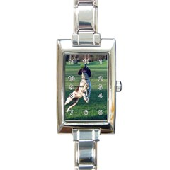 English Springer Catching Ball Rectangle Italian Charm Watch