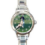 English Springer Catching Ball Round Italian Charm Watch Front