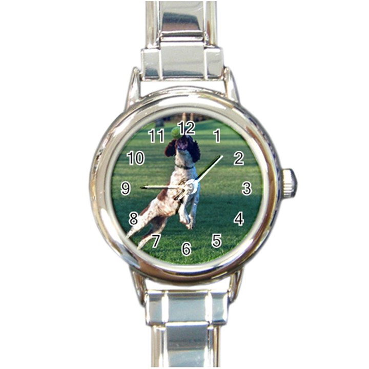 English Springer Catching Ball Round Italian Charm Watch