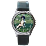 English Springer Catching Ball Round Metal Watch Front