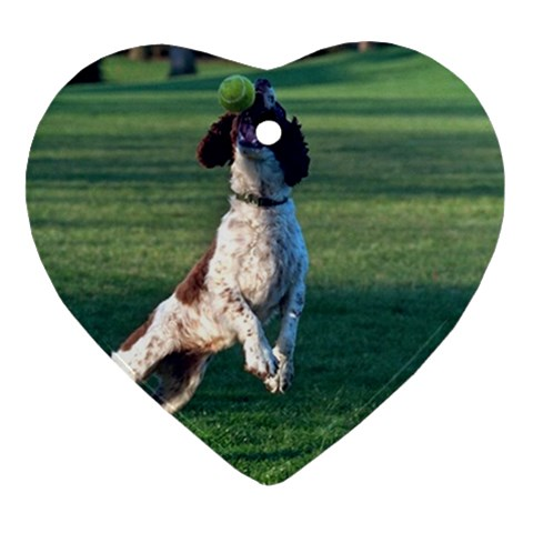 English Springer Catching Ball Ornament (Heart)