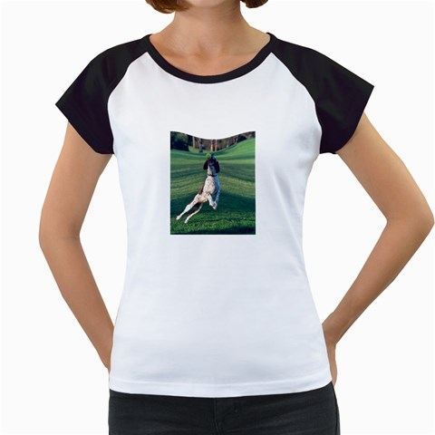 English Springer Catching Ball Women s Cap Sleeve T