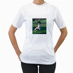 English Springer Catching Ball Women s T-Shirt (White) (Two Sided)