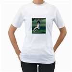 English Springer Catching Ball Women s T-Shirt (White) (Two Sided) Front