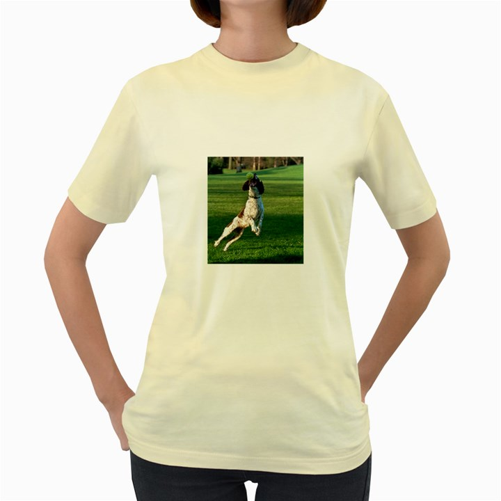 English Springer Catching Ball Women s Yellow T-Shirt