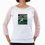 English Springer Catching Ball Girly Raglans Front