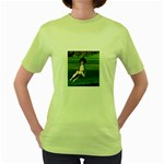English Springer Catching Ball Women s Green T-Shirt Front