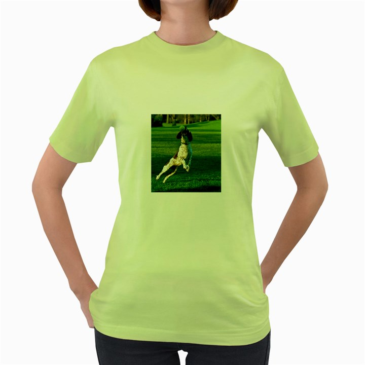 English Springer Catching Ball Women s Green T-Shirt