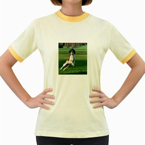 English Springer Catching Ball Women s Fitted Ringer T-Shirts