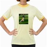 English Springer Catching Ball Women s Fitted Ringer T-Shirts Front