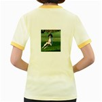 English Springer Catching Ball Women s Fitted Ringer T-Shirts Back