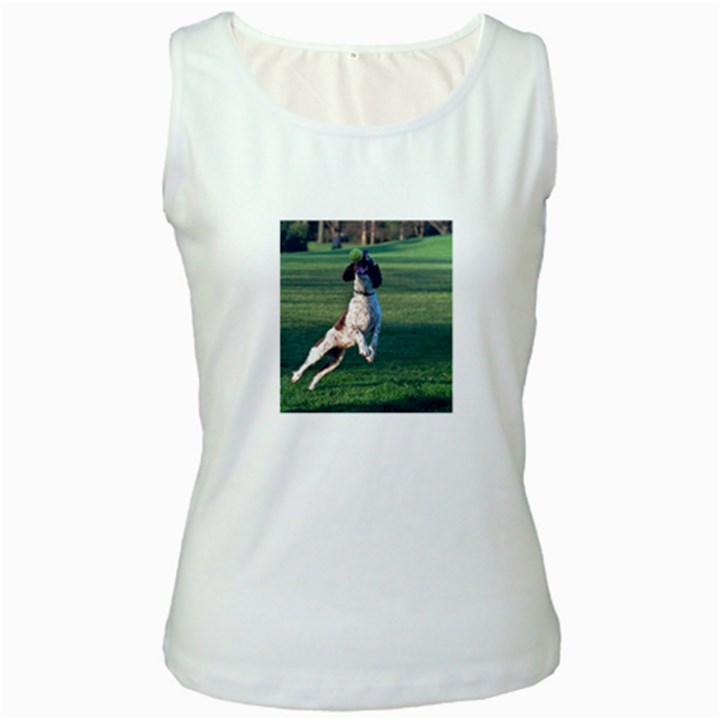 English Springer Catching Ball Women s White Tank Top