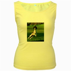 English Springer Catching Ball Women s Yellow Tank Top