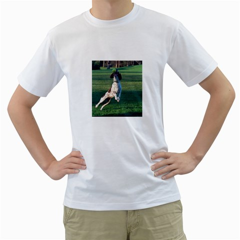 English Springer Catching Ball Men s T-Shirt (White) (Two Sided)