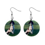English Springer Catching Ball Mini Button Earrings Front