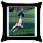 English Springer Catching Ball Throw Pillow Case (Black) Front