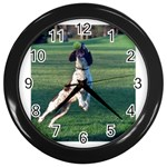 English Springer Catching Ball Wall Clocks (Black) Front