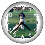 English Springer Catching Ball Wall Clocks (Silver)  Front