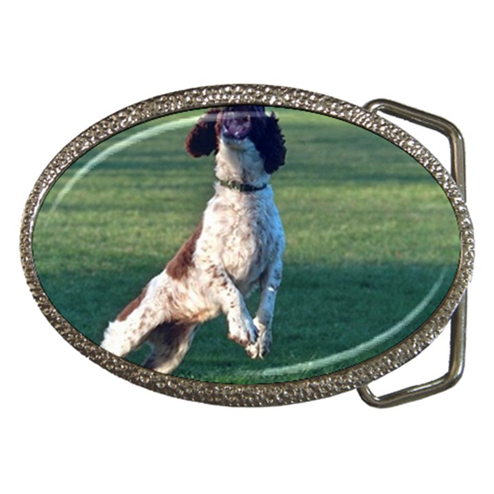 English Springer Catching Ball Belt Buckles