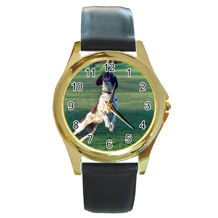 English Springer Catching Ball Round Gold Metal Watch