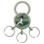 English Springer Catching Ball 3-Ring Key Chains Front