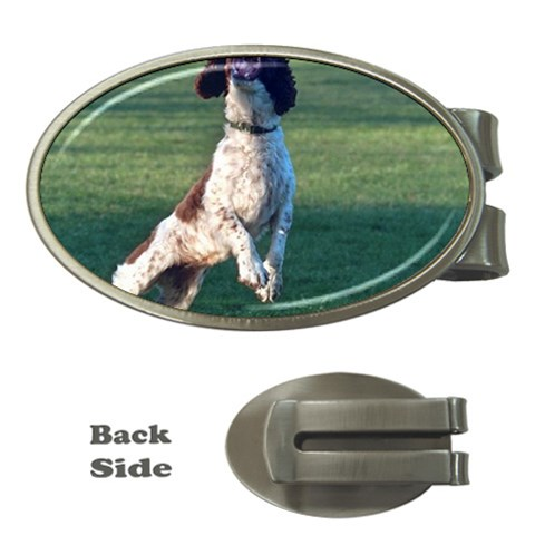 English Springer Catching Ball Money Clips (Oval)