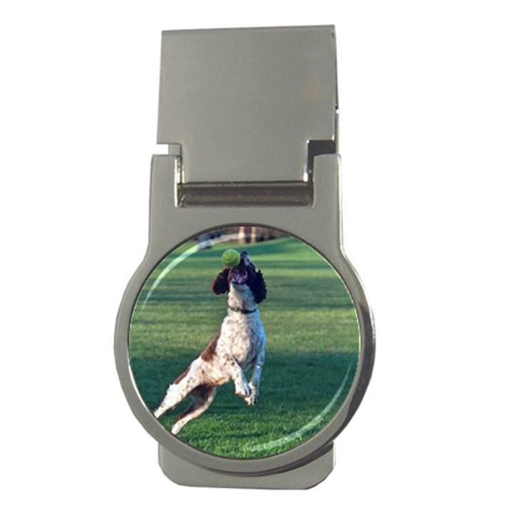 English Springer Catching Ball Money Clips (Round)