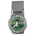 English Springer Catching Ball Money Clips (CZ)  Front