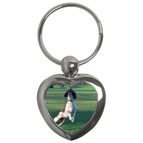 English Springer Catching Ball Key Chains (Heart)