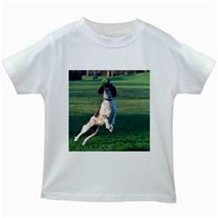 English Springer Catching Ball Kids White T-Shirts