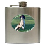 English Springer Catching Ball Hip Flask (6 oz) Front
