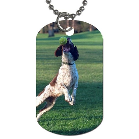 English Springer Catching Ball Dog Tag (Two Sides)