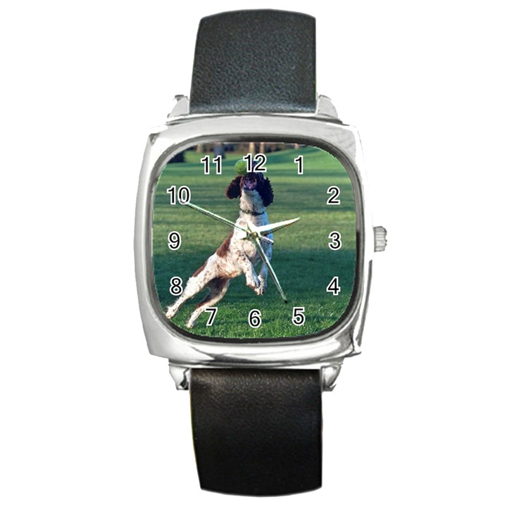 English Springer Catching Ball Square Metal Watch