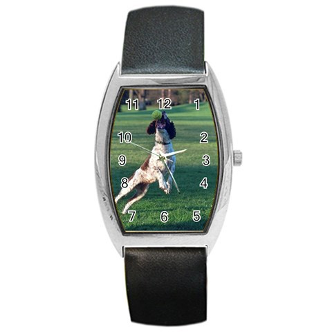 English Springer Catching Ball Barrel Style Metal Watch