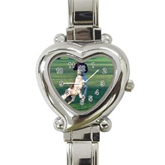 English Springer Catching Ball Heart Italian Charm Watch