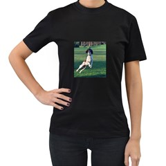 English Springer Catching Ball Women s T-Shirt (Black) (Two Sided)
