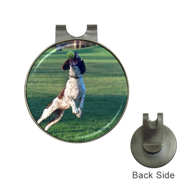 English Springer Catching Ball Hat Clips with Golf Markers