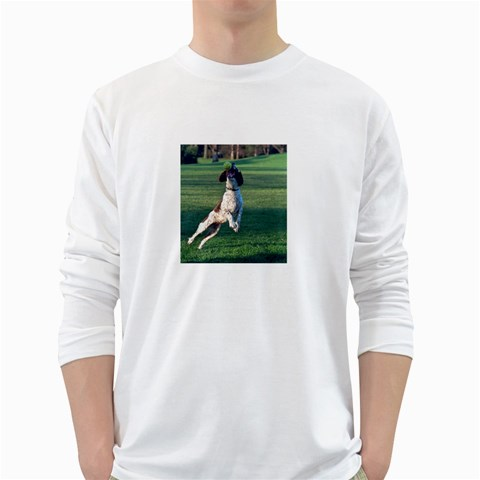 English Springer Catching Ball White Long Sleeve T-Shirts