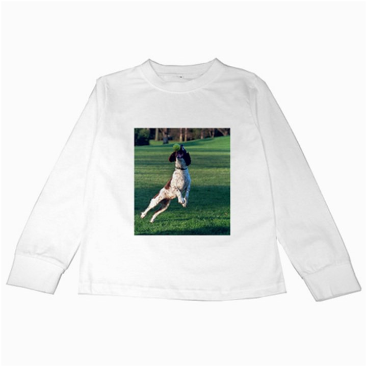 English Springer Catching Ball Kids Long Sleeve T-Shirts