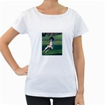 English Springer Catching Ball Women s Loose-Fit T-Shirt (White) Front