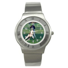 English Springer Catching Ball Stainless Steel Watch