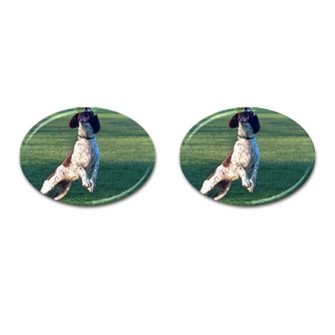 English Springer Catching Ball Cufflinks (Oval)