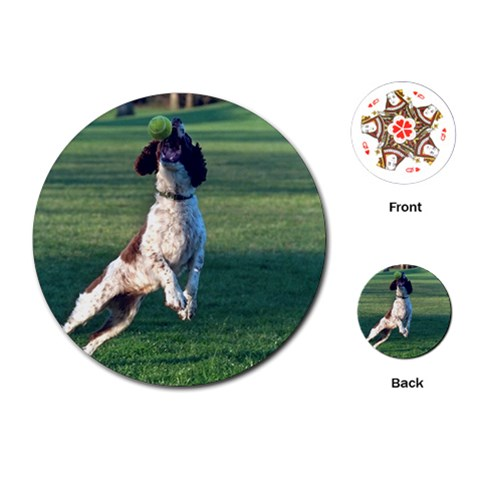 English Springer Catching Ball Playing Cards (Round)