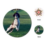 English Springer Catching Ball Playing Cards (Round)  Front