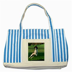 English Springer Catching Ball Striped Blue Tote Bag