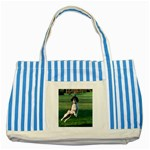 English Springer Catching Ball Striped Blue Tote Bag Front