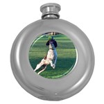 English Springer Catching Ball Round Hip Flask (5 oz) Front