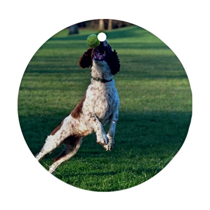 English Springer Catching Ball Round Ornament (Two Sides)