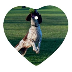 English Springer Catching Ball Heart Ornament (2 Sides)