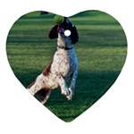 English Springer Catching Ball Heart Ornament (2 Sides) Front